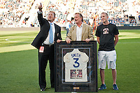 Philadelphia Union CEO Nick Sakiewicz  honors National Soccer Hall of Fame member Bobby Smith before the game. DC United defeated Philadelphia Union 1-0 during a Major League Soccer (MLS) match at PPL Park in Chester, PA, on June 16, 2012.