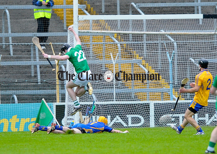 Declan Hannon of Limerick celebrates a goal against Clare early in the second half during their game at Semple Stadium. Photograph by John Kelly.