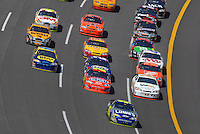 Apr 29, 2007; Talladega, AL, USA; Nascar Nextel Cup Series driver Jimmie Johnson (48) leads the field during the Aarons 499 at Talladega Superspeedway. Mandatory Credit: Mark J. Rebilas