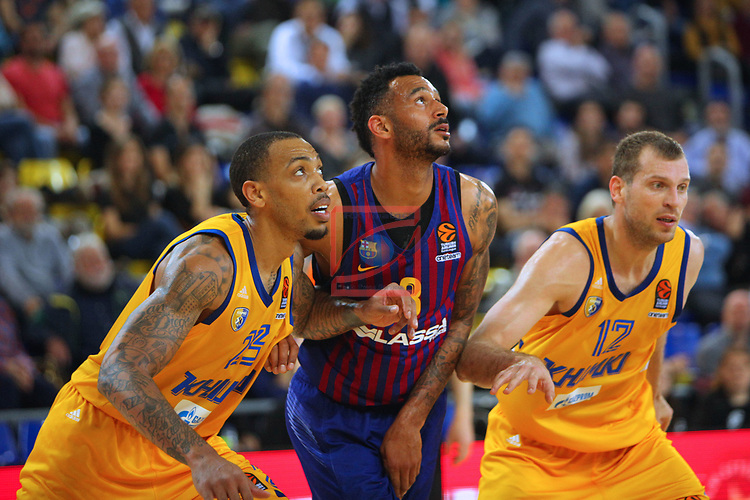 Turkish Airlines Euroleague 2018/2019. <br /> Regular Season-Round 30.<br /> FC Barcelona Lassa vs Khimki Moscow Region: 83-74.<br /> Malcolm Thomas, Adam Hanga & Sergey Monia.