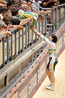 ANNA MEARES (AUS) celebrates with her mother after winning the bronze medal in the Women's Sprint event on day 3 of the 2012 UCI Track Cycling World Championships at Hisense Arena in Melbourne, Australia. Photo Sydney Low. Copyright 2012 Sydney Low. All rights reserved. No reproduction permitted. Access via FlickrAPI not permitted...Please contact ZUMApress.com for editorial licensing:.Phone +1.949.481.3747  -  fax +1.949.481.3941  -  zuma-info@ZUMAPress.com .408 N. El Camino Real, San Clemente, California, 92672 USA