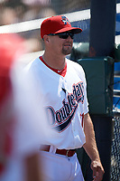 Auburn Doubledays manager Jerad Head (11) before the second game of a doubleheader against the Mahoning Valley Scrappers on July 2, 2017 at Falcon Park in Auburn, New York.  Mahoning Valley defeated Auburn 3-2.  (Mike Janes/Four Seam Images)