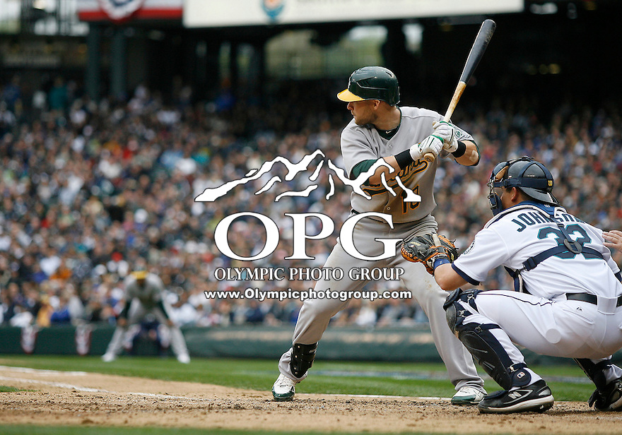 12 April 2010: Oakland A's first baseman #10 Daric Barton sets up in the batters box against the Seattle Mariners. Oakland won 4-0 over Seattle at Safeco Field in Seattle, Washington.