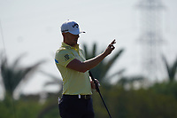 Matt Wallace (ENG) on the 1st green during the Pro-Am of the Abu Dhabi HSBC Championship 2020 at the Abu Dhabi Golf Club, Abu Dhabi, United Arab Emirates. 15/01/2020<br /> Picture: Golffile | Thos Caffrey<br /> <br /> <br /> All photo usage must carry mandatory copyright credit (© Golffile | Thos Caffrey)