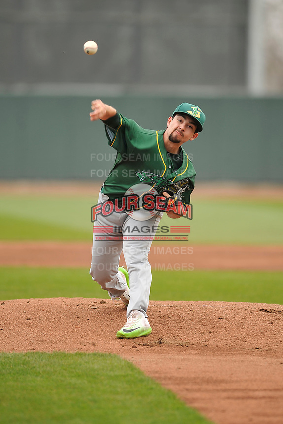 Beloit Snappers starting pitcher Brandon Bailey (19) throws during a game against the Cedar Rapids Kernels at Veterans Memorial Stadium on April 9, 2017 in Cedar Rapids, Iowa.  The Kernels won 6-1.  (Dennis Hubbard/Four Seam Images)