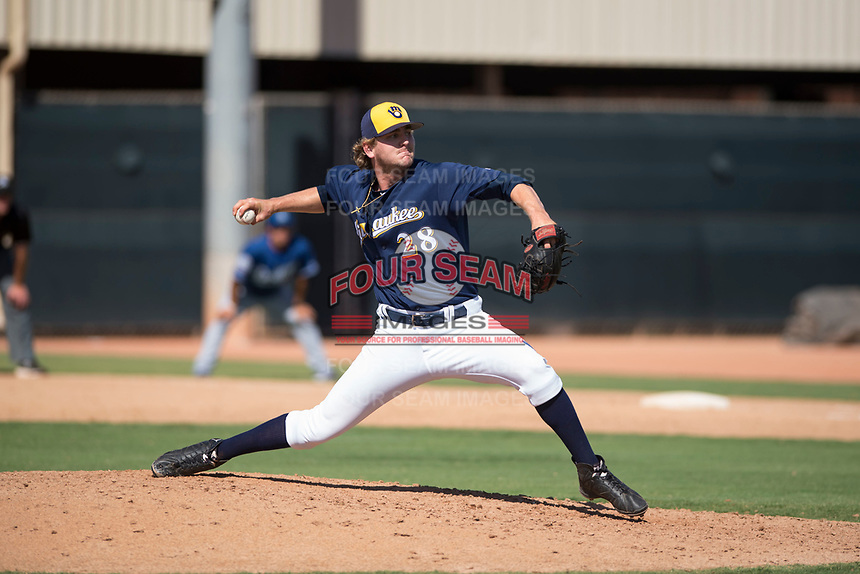 Milwaukee Brewers relief pitcher Logan Gillaspie (28) delivers a pitch during an Instructional League game against the Los Angeles Dodgers at Maryvale Baseball Park on September 24, 2018 in Phoenix, Arizona. (Zachary Lucy/Four Seam Images)