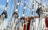 Nederland Den Helder 2015. Detail van een zeilschip