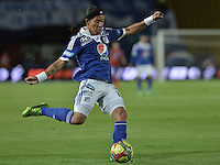 BOGOTÁ -COLOMBIA, 25-08-2013. Dayro Moreno en accion durante el encuentro entre Millonarios y Deportivo Pasto válido  por la fecha 6 de la Liga Postobon II 2013 disputado en el estadio el Campín de la ciudad de Bogotá./ Dayro Moreno in action during the match between Millonarios and Deportivo Pasto valid for the sixth date of the Postobon League II 2013 played at El Campin stadium in Bogotá city. Photo: VizzorImage/Gabriel Aponte/STR
