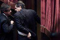 Il deputato Saverio Romano lascia l aula dopo il risultato del voto..La Camera dei Deputati ha approvato la proposta della Giunta di concedere l autorizzazione all utilizzazione di intercettazioni di conversazioni telefoniche nei confronti del deputato Saverio Romano ..Roma 21 Dicembre  2011..Photo Serena Cremaschi Insidefoto..............................