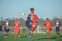 Westfield, IN - October 26, 2014: US Soccer Development Academy U-14 teams compete at the 2014 Regional showcase at Grand Park.
