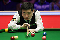 12th January 2020, Alexandra palace, London, United Kingdom; Ding Junhui of China plays a shot during the round 1 match between Ding Junhui of China and Joe Perry of England at Snooker Masters 2020 at the Alexandra Palace . Perry won 6 frames to 3.