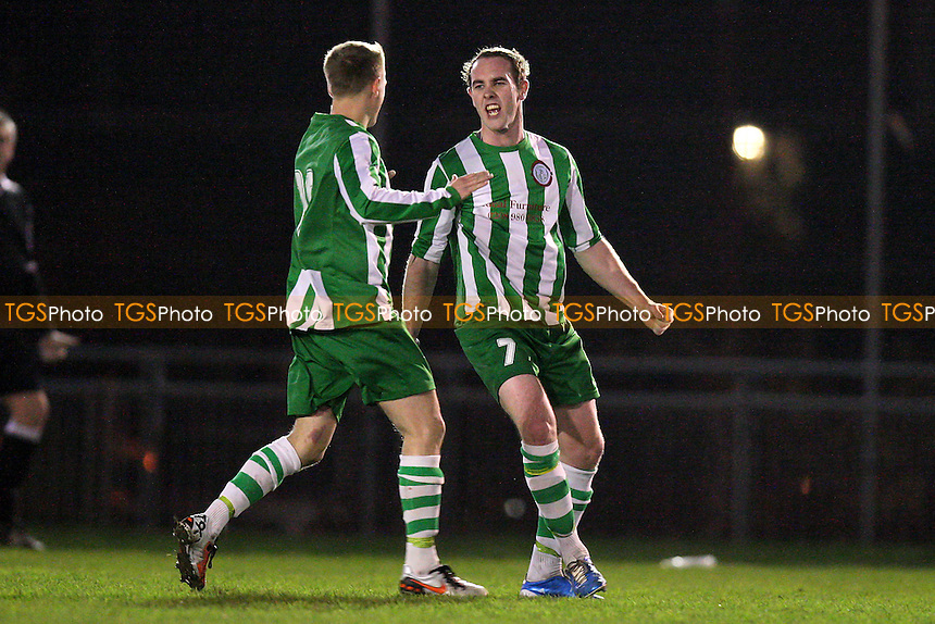 Leon Ryan scores the second goal for Bethnal Green and celebrates with Ryan Lee (L) - Bethnal Green United vs Barking - Essex Senior League Football at the Mile End Stadium - 02/02/11 - MANDATORY CREDIT: Gavin Ellis/TGSPHOTO - Self billing applies where appropriate - Tel: 0845 094 6026