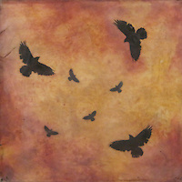 Mixed media encaustic wax painting with  photography of crows in sunset sky.