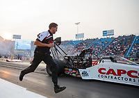 May 31, 2019; Joliet, IL, USA; Crew member Gary Pritchett for NHRA top fuel driver Steve Torrence during qualifying for the Route 66 Nationals at Route 66 Raceway. Mandatory Credit: Mark J. Rebilas-USA TODAY Sports