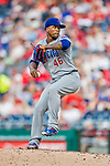 29 June 2017: Chicago Cubs pitcher Pedro Strop on the mound against the Washington Nationals at Nationals Park in Washington, DC. The Cubs rallied to defeat the Nationals 5-4 and split their 4-game series. Mandatory Credit: Ed Wolfstein Photo *** RAW (NEF) Image File Available ***