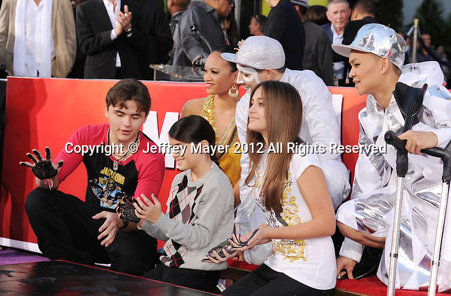 HOLLYWOOD, CA - JANUARY 26: Prince Jackson, Blanket Jackson and Paris Jackson  during the Michael Jackson Hand And Footprint Ceremony at Grauman's Chinese Theatre on January 26, 2012 in Hollywood, California.