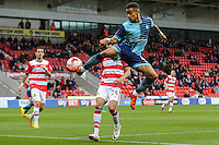 Paris Cowan-Hall of Wycombe Wanderers tries to keep the ball in play during the Sky Bet League 2 match between Doncaster Rovers and Wycombe Wanderers at the Keepmoat Stadium, Doncaster, England on 29 October 2016. Photo by David Horn.