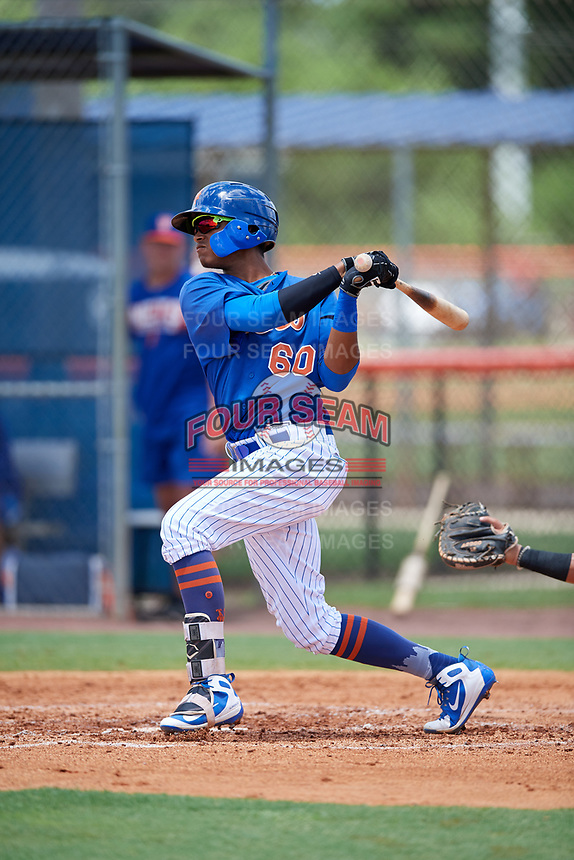 GCL Mets second baseman Sebastian Espino (60) flies out during a game against the GCL Marlins on August 3, 2018 at St. Lucie Sports Complex in Port St. Lucie, Florida.  GCL Mets defeated GCL Marlins 3-2.  (Mike Janes/Four Seam Images)