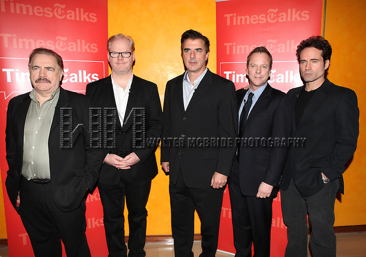 TimesTalks Presents A Conversation With The Champion Acting Ensemble, (L-R) Actors Brian Cox, Jim Gaffigan, Chris Noth, Kiefer Sutherland and Jason Patric with cast members of Broadway's  'That Championship Season' at the Times Center in New York City.