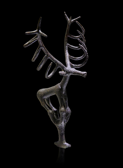 Bronze Age Hattian ceremonial deer statuette in bronze from a possible Bronze Age Royal grave (2500 BC to 2250 BC) - Alacahoyuk - Museum of Anatolian Civilisations, Ankara, Turkey. Against a black background