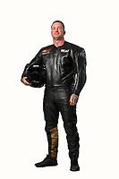 Feb 7, 2019; Pomona, CA, USA; NHRA top fuel Harley Davidson nitro motorcycle rider Beau Layne poses for a portrait during NHRA Media Day at the NHRA Museum. Mandatory Credit: Mark J. Rebilas-USA TODAY Sports