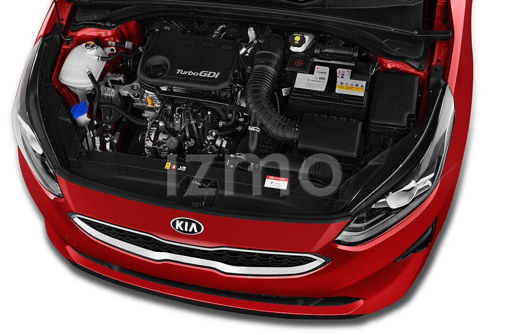 Car Stock 2019 KIA Ceed Fusion Door Hatchback Engine  high angle detail view