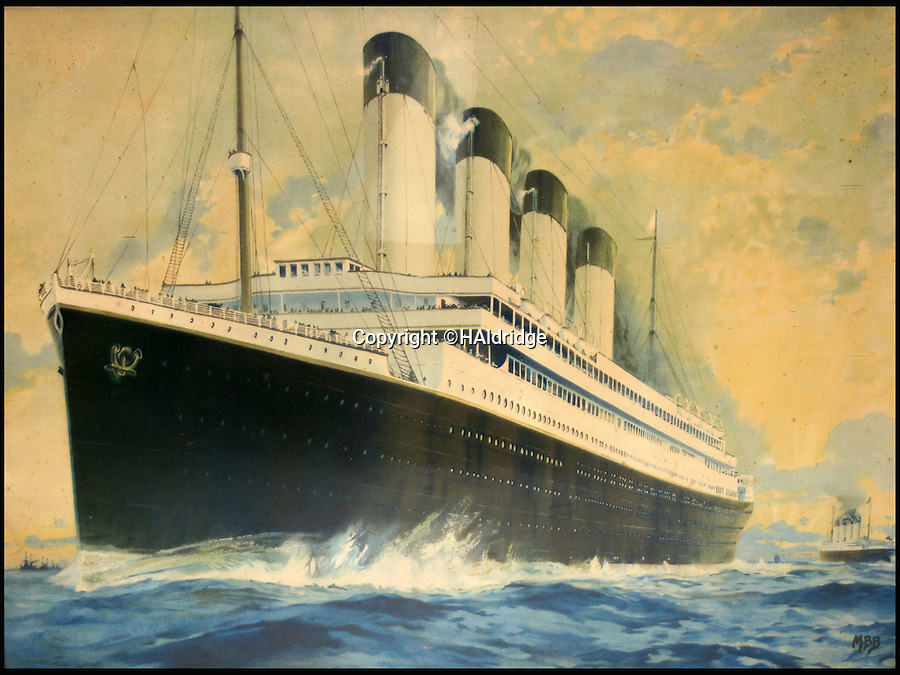 BNPS.co.uk (01202 558833)<br /> Pic: HAldridge/BNPS<br /> <br /> This &pound;12,000 artwork shows the RMS Olympic with the Titanic in the background.<br /> <br /> An incredibly rare travel poster advertising trips on the Titanic has been discovered on the back of painting that has been hidden behind a false wall for 100 years.<br /> <br /> A couple renovating their Victorian home in Wales stumbled upon the lithographic poster after knocking through a stud wall in their living room.<br /> <br /> It is being sold for &pound;3,000 along with two other vintage promotional posters for the ill-fated liner at auction in Wiltshire.