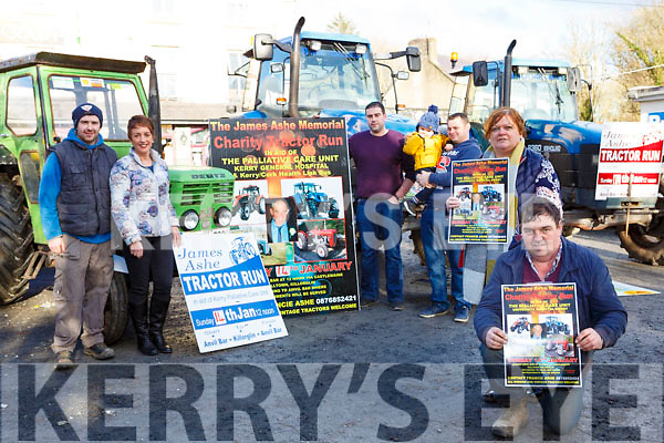 Margaret and Francie Ashe launching the James Ashe Memorial Tractor run in aid of the Pallative, Care Unit in KGH which will be held in Keel on Sunday 14th January l-r: Johnny Daly, Elizabeth O'Connor, Stephen O'Connor, Shane, Conor, Margaret and Francie Ashe