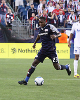 New England Revolution midfielder Joseph Niouky (23) controls the ball.  The New England Revolution and San Jose Earthquakes play to a scoreless draw at Gillette Stadium on May 15, 2010