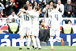 Real Madrid's Mateo Kovacic, Toni Kroos, Luka Modric and Sergio Ramos celebrate goal during La Liga match. February 13,2016. (ALTERPHOTOS/Acero)