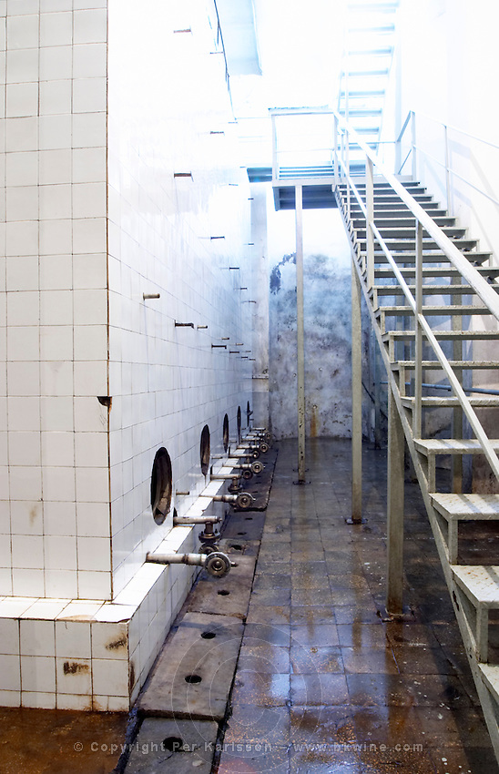 Enormous concrete fermentation and storage vats covered in white tiles. The iron stairs leading down to the underground winery. Kantina e Pijeve Gjergj Kastrioti Skenderbeu Skanderbeg winery, Durres. Albania, Balkan, Europe.