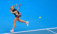 Petra Kvitova of Czech Republic hits a backhand to compatriot Lucie Safarova during their women's singles match at the Sydney International tennis tournament in Sydney, Australia, Wednesday, Jan. 8, 2014. IMAGE RESTRICTED TO EDITORIAL USE ONLY. Photo by Daniel Munoz/VIEWpress