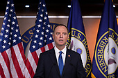 United States Representative Adam Schiff (Democrat of California), joined by Speaker of the United States House of Representatives Nancy Pelosi (Democrat of California), speak at a press conference on Capitol Hill in Washington D.C., U.S. on October 2, 2019.<br /> <br /> Credit: Stefani Reynolds / CNP