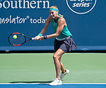 August 18,2018:   Petra Kvitova (CZE) loses to Kiki Bertens (NED) 3-6, 6-4, 6-2, at the Western & Southern Open being played at Lindner Family Tennis Center in Mason, Ohio.  ©Leslie Billman/Tennisclix/CSM