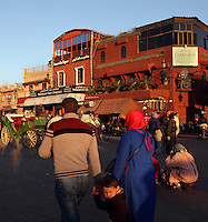 Crowds and shops in Djemma el Fna square and marketplace, Medina, Marrakech, Morocco. Picture by Manuel Cohen