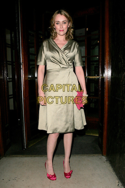 KEELEY HAWES.RTS Programme Awards 2007 - Arrivals, Grosvenor House, Park Lane, London, W1, England. .March 19 2008 .full length green silk dress pink clutch bag shoes.CAP/AH.©Adam Houghton/Capital Pictures.