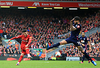 7th March 2020; Anfield, Liverpool, Merseyside, England; English Premier League Football, Liverpool versus AFC Bournemouth; Philip Billing of Bournemouth attempts to block as Alex Oxlade-Chamberlain of Liverpool  shoots from the edge of the penalty area