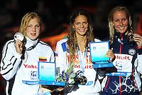 50 breaststroke women<br /> MEILUTYTE Ruta, Lithuania LTU,silver medal<br /> EFIMOVA Yuliya, Russia RUS, gold medal<br /> HARDY Jessica, United States USA, bronze medal <br /> Swimming - Nuoto <br /> Barcellona 4/8/2013 Palau St Jordi <br /> Barcelona 2013 15 Fina World Championships Aquatics <br /> Foto Andrea Staccioli Insidefoto