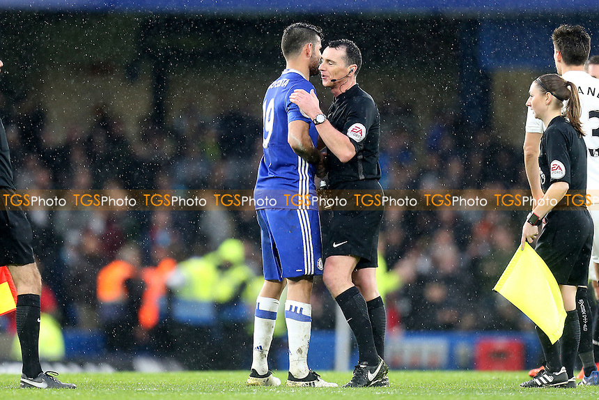 Referee Neil Swarbrick shakes hands with Diego Costa of Chelsea after  Chelsea vs Swansea City, Premier League Football at Stamford Bridge on 25th February 2017