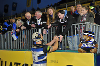 Leroy Houston of Bath Rugby mingles with supporters after the match. Aviva Premiership match, between Bath Rugby and Worcester Warriors on December 27, 2015 at the Recreation Ground in Bath, England. Photo by: Patrick Khachfe / Onside Images