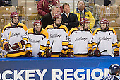 Joe Basaraba (Duluth - 18), Travis Oleksuk (Duluth - 11), Keegan Flaherty (Duluth - 14), Derek Plante (Duluth - Assistant Coach), Scott Sandelin (Duluth - Head Coach), Jake Hendrickson (Duluth - 15), Jack Connolly (Duluth - 12) - The University of Minnesota Duluth Bulldogs defeated the University of Maine Black Bears 5-2 in their NCAA Northeast semifinal on Saturday, March 24, 2012, at the DCU Center in Worcester, Massachusetts.