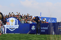Sergio Garcia (Team Europe) on the 9th tee during the Friday Foursomes at the Ryder Cup, Le Golf National, Ile-de-France, France. 28/09/2018.<br /> Picture Thos Caffrey / Golffile.ie<br /> <br /> All photo usage must carry mandatory copyright credit (© Golffile | Thos Caffrey)