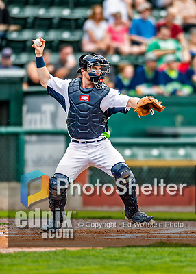21 July 2019: Vermont Lake Monsters catcher Kyle McCann in action against the Tri-City ValleyCats at Centennial Field in Burlington, Vermont. The Lake Monsters rallied to defeat the ValleyCats 6-3 in NY Penn League play. Mandatory Credit: Ed Wolfstein Photo *** RAW (NEF) Image File Available ***