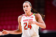 College Park, MD - NOV 29, 2017: Maryland Terrapins forward Stephanie Jones (24) during ACC/Big Ten Challenge game between Gerogia Tech and the No. 7 ranked Maryland Terrapins. Maryland defeated The Yellow Jackets 67-54 at the XFINITY Center in College Park, MD.  (Photo by Phil Peters/Media Images International)