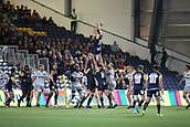29th September 2017, Sixways Stadium, Worcester, England; Aviva Premiership Rugby, Worcester Warriors versus Saracens; David Denton of Worcester Warriors jumps high to collect the ball in the line out