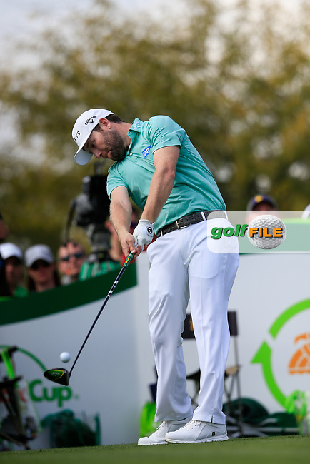 Brandon Grace (RSA) on the 9th tee during the 3rd round of the Waste Management Phoenix Open, TPC Scottsdale, Scottsdale, Arisona, USA. 02/02/2019.<br /> Picture Fran Caffrey / Golffile.ie<br /> <br /> All photo usage must carry mandatory copyright credit (&copy; Golffile | Fran Caffrey)