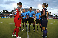 Cary, NC - Saturday April 22, 2017: Christine Sinclair, Javier Rodriguez, Victor Rivas, Adrienne McDonald, Abby Erceg prior to a regular season National Women's Soccer League (NWSL) match between the North Carolina Courage and the Portland Thorns FC at Sahlen's Stadium at WakeMed Soccer Park.