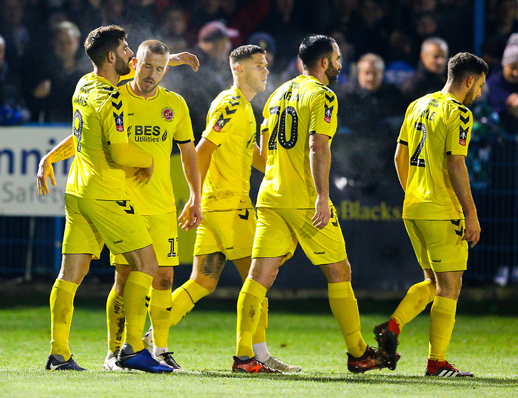 Fleetwood Town's Paddy Madden celebrates with teammates after scoring the opening goal <br /> <br /> Photographer Alex Dodd/CameraSport<br /> <br /> The Emirates FA Cup Second Round - Guiseley v Fleetwood Town - Monday 3rd December 2018 - Nethermoor Park - Guiseley<br />  <br /> World Copyright &copy; 2018 CameraSport. All rights reserved. 43 Linden Ave. Countesthorpe. Leicester. England. LE8 5PG - Tel: +44 (0) 116 277 4147 - admin@camerasport.com - www.camerasport.com