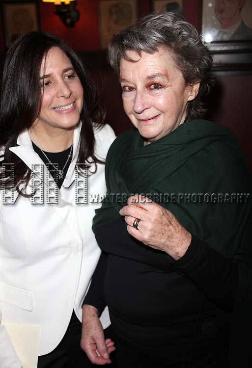 """Zoe Caldwell with Dori Berinstein receives the Commercial Theater Institute's Robert Whitehead Award for """"Outstanding Achievement in Commercial Theatre Producing"""" at Sardi's Restaurant in New York City.<br />March 10, 2009"""