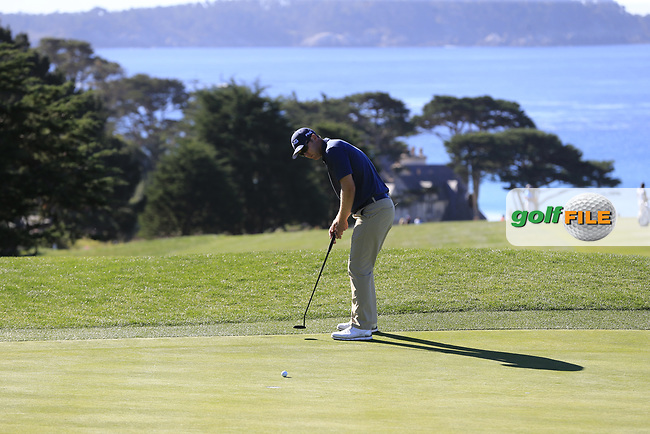 Seamus Power (IRL) putts on the 11th green at Pebble Beach course during Friday's Round 2 of the 2018 AT&amp;T Pebble Beach Pro-Am, held over 3 courses Pebble Beach, Spyglass Hill and Monterey, California, USA. 9th February 2018.<br /> Picture: Eoin Clarke | Golffile<br /> <br /> <br /> All photos usage must carry mandatory copyright credit (&copy; Golffile | Eoin Clarke)